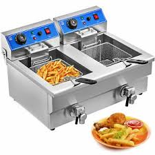 frying basket 20L <b>Electric Deep Fryer Double</b> Tank wth Faucet ...