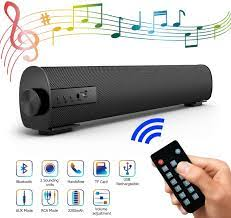 Soundbar Speaker for TV, 42.9 cm Portable 4.2 Bluetooth Speaker Soundbox  with 2200 mAh Battery, 2 x 5 W Stereo System Wired and Wireless Home Cinema  Soundbar with Subwoofer for PC, Phone,