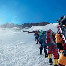 Image result for so many climbers to the Everest