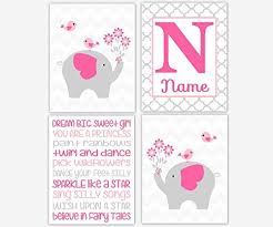 >buy baby girl nursery wall art pink gray elephants personalized name  buy baby girl nursery wall art pink gray elephants personalized name art typography girl room wall decor elephant wall decor baby nursery decor set of 4