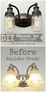 DIY Mason Jar Vanity Light ~ Cool fixture redo. More DIY projects on her  blog