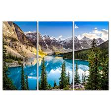 amazon 3 pieces modern canvas painting wall art for home decoration morain lake and mountain range alberta canada landscape mountain lake print on  on wall art canvas prints canada with amazon 3 pieces modern canvas painting wall art for home