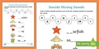 Includes differentiated support and independent sheets. Seaside Activities Missing Sounds Worksheet Teacher Made