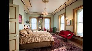 Great Victorian Bedroom With Hanging Chandelier And Pastel Wall Colors