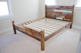 bedroom unique queen size bed frame which decorated with stained