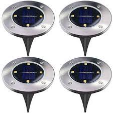 4Pcs 4 LED <b>Solar Powered Ground</b> Lights Outdoor lamp Waterproof ...