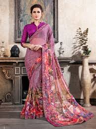Light Purple Color Saree Light Purple Colour Party Wear Printed Chiffon Saree