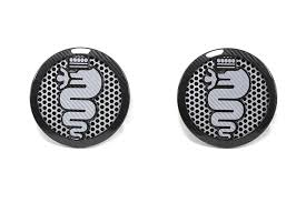 alfa romeo logo black and white. carbon fiber alfa romeo 4c speaker frame white logo black and white