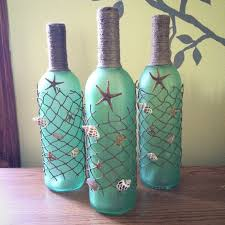 Decorative Wine Bottles For Sale CLOSE OUT SALEBeach themed Wine Bottles with Starfish Seashells 2