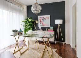 feminine home office. Feminine-Office-Glass-Desk-Animal-Rug-Black-Wall- Feminine Home Office
