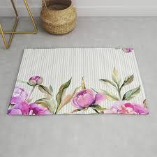elegant hand painted pink purple gray watercolor stripes fl rug