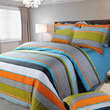 flame orange white blue gray and yellow green multi color rugby stripe and pinstripe print full queen size cotton bedding sets