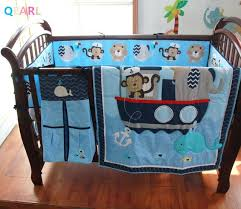 whale baby bedding embroidery monkey elephant navigation blue sea whale baby bedding set quilt per skirt mattress cover whale baby girl bedding