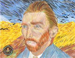 this drawing for me was a bit difficult because my portrait style differs a lot from the van gogh technique most of all here was experimenting as i made
