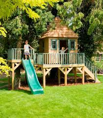Simple Kids Tree Houses With Slides Childrens House Platform And Slide In Decorating