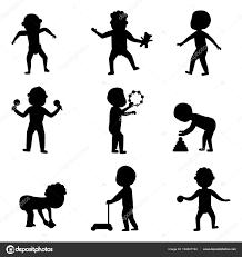 少しかわいい服黒シルエット幼稚園を着て幸せな笑い赤ちゃん子供最初