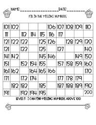 100 Chart And 200 Chart Fill In The Missing Numbers