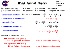 derivation of the equations that explain the difference in design between a subsonic wind tunnel and