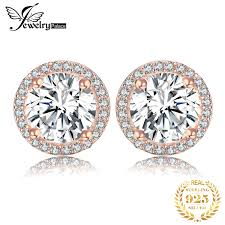 jewelrypalace cz stud earrings rose