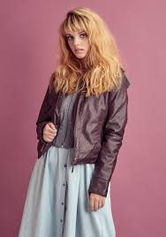 barbizon model maya rocks the joujou faux leather moto jacket available at macy s