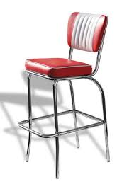 Tisoney Retro fifties kitchen breakfast bar stool with padded seat and back  Fully Assembled