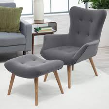 furniture stylish mid century modern chairs gray color polyester fabric upholstery tufted on details wood