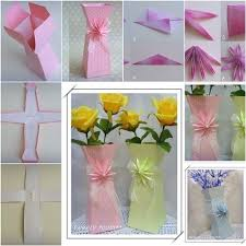 Flower Vase With Paper Diy Beautiful Paper Flower Vase