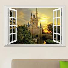 3d window view wall art mural decor castle orchard of harvest lane in forest wallpaper decorative applique poster graphic 3d window view wall art mural  on metal wall art decor 3d mural with 3d window view wall art mural decor castle orchard of harvest lane