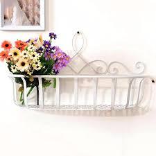 continental iron flower baskets hanging basket pots flowerpot shelf wire wall baskets for plants metal wall
