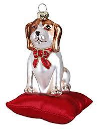 Christbaumschmuck Beagle Auf Kissen 11cm Glas