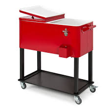 best choice products 80 quart steel rolling cooler cart w bottle opener and catch