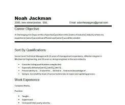 Basic Resume Objective Cv