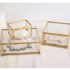 high end custom vintage crown gold glass jewelry box storage gift display