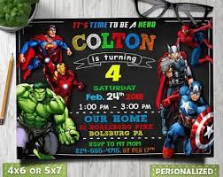 Personalized Superhero Birthday Invitations Superhero Invitation Etsy