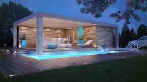 View in gallery Luxury pool with led lights on night