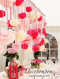 Hanging Paper Flower Balls 75 Pom Pom Set Pinks And Ivory With Strings Wedding