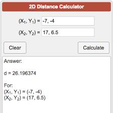 Vertex Distance Chart 2d Distance Calculator