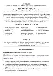 Equity Research Associate Resume Sample & Template