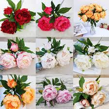 details about uk ship 3heads silk artificial peony home decor prop wedding anniversary flowers