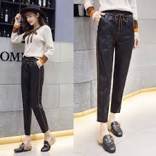 2017 new arrival pu leather pants womens fashion harem pants casual solid leather trousers loose capris