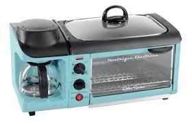 52 results for coffee toaster. Nostalgia Electrics Nostalgia Retro 3 In 1 Family Size Electric Breakfast Station Coffeemaker Griddle Toaster Oven Aqua Reviews Wayfair