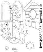 art print poster childrens coloring book cartoon family on nature cat and kittens children