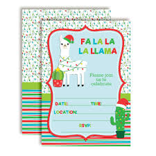 Christmas Birthday Party Invitations Fa La La La Llama Themed Holiday Christmas Birthday Party