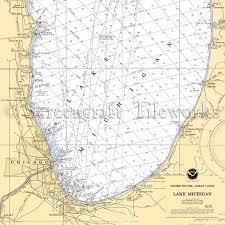 Lake Michigan Nautical Chart Michigan Lake Michigan South Shore Nautical Chart Decor