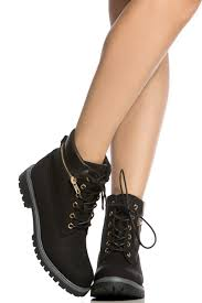 black faux leather lace up hiker ankle boots