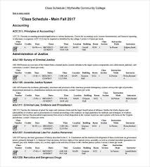 Sample College Class Schedule Class Schedule Template 8 Free Sample Example Format Download