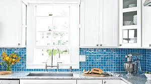 blue glass backsplash kitchen white kitchen cabinets