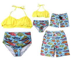 Bathing Suit Top Size Chart Amazon Com Family Matching Tropical Fish Print Bathing Suit