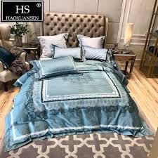 egyptian cotton 4pcs bedding sets european fl lace pattern digital print duvet cover set queen king