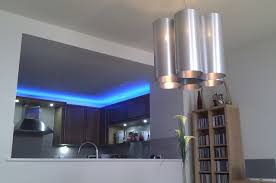strip lighting kitchen. Blue LED Strip Lights Over Kitchen Wall Cabinet And Unique 5 Silver Shade Pendant Lighting H